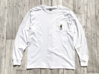 SUNDAYS BEST [サンデイズ ベスト] HULA GIRL POCKET LONG SLEEVE TEE/WHITE
