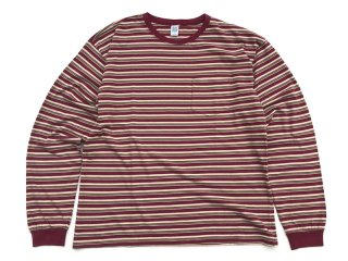 COMFORTABLE REASON [コンフォータブル リーズン] Multi border L/S Pocket Tee/BORDEAUX