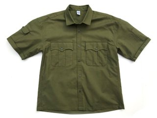 COMFORTABLE REASON [コンフォータブル リーズン] Panama cloth Safari shirts/OLIVE