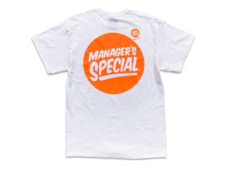 MANAGER'S SPECIAL [マネージャーズスペシャル] VALUE SIZE LOGO TEE/WHITE-ORANGE