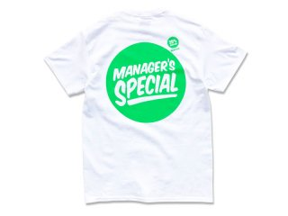 MANAGER'S SPECIAL [マネージャーズスペシャル] VALUE SIZE LOGO TEE/WHITE-GREEN