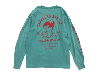 MANAGER'S SPECIAL [マネージャーズスペシャル] SUZY WONG PIGMENT DYED LONG SLEEVE TEE/GREEN