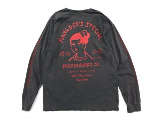 MANAGER'S SPECIAL [マネージャーズスペシャル] SUZY WONG PIGMENT DYED LONG SLEEVE TEE/BLACK