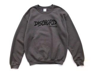 DISCHORD RECORDS [ディスコード レコード] OLD DISCHORD LOGO CREWNECK SWEAT/CHARCOALxBLACK
