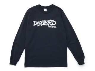 DISCHORD RECORDS [ディスコード レコード] OLD DISCHORD LOGO LONG-SLEEVE TEE/BLACKxWHITE