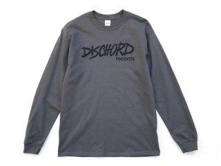 DISCHORD RECORDS [ディスコード レコード] OLD DISCHORD LOGO LONG-SLEEVE TEE/CHARCOALxBLACK