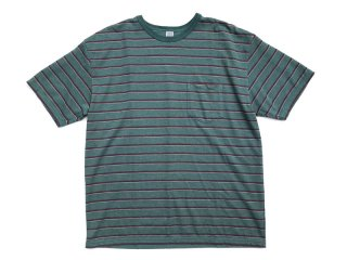 COMFORTABLE REASON [コンフォータブル リーズン] Pique Border S/S Pocket Tee/Peacock Green