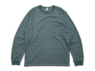 COMFORTABLE REASON [コンフォータブル リーズン] Pique Border L/S Pocket Tee/Peacock Green