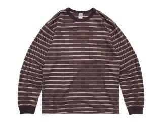 COMFORTABLE REASON [コンフォータブル リーズン] Pique Border L/S Pocket Tee/Brown