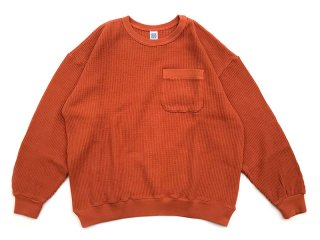 COMFORTABLE REASON [コンフォータブル リーズン] Big Waffle Sweat Shirts/ORANGE