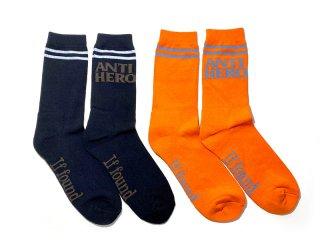 ANTI HERO SKATEBOARDS [アンタイヒーロー] BLACK HERO IF FOUND SOCKS
