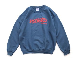 DISCHORD RECORDS [ディスコード レコード] OLD DISCHORD LOGO CREWNECK SWEAT/INDIGO BLUExRED