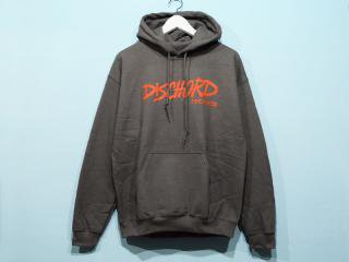 DISCHORD RECORDS [ディスコード レコード] OLD DISCHORD LOGO HOODED SWEAT/CHARCOALxRED