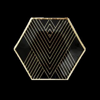 <br>HARLOW & GREY<br>ノアールコレクション 六角形 パーティープレート(小) ブラック&ゴールド