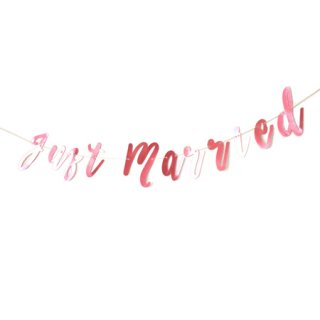 <br>BRACKET <br>JUST MARRIED パーティーバナー ライトメタリックピンク