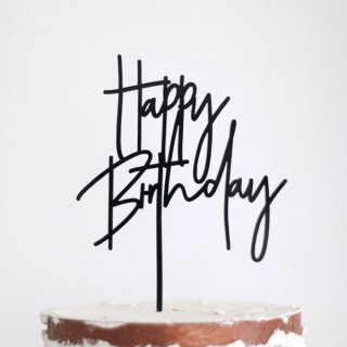 <img class='new_mark_img1' src='https://img.shop-pro.jp/img/new/icons11.gif' style='border:none;display:inline;margin:0px;padding:0px;width:auto;' /><br>HAPPY BIRTHDAYアクリル製ケーキトッパー - ブラック