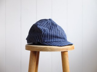 <img class='new_mark_img1' src='//img.shop-pro.jp/img/new/icons15.gif' style='border:none;display:inline;margin:0px;padding:0px;width:auto;' />HIGHER/ハイヤー『INDIGO STRIPE POSTMAN CAP/インディゴストライプ ポストマンキャップ』インディゴストライプ