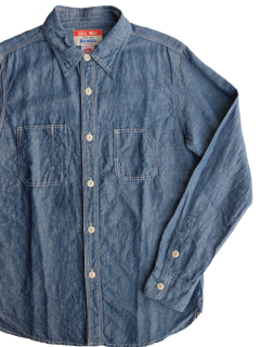 <img class='new_mark_img1' src='//img.shop-pro.jp/img/new/icons15.gif' style='border:none;display:inline;margin:0px;padding:0px;width:auto;' />UESウエス『CHAMBRAY WORK SHIRT』シャンブレーワークシャツ