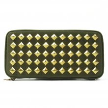 THE COLOR NYLON STUDS WALLET -olive-