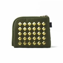 THE COLOR NYLON STUDS HALF WALLET -olive-
