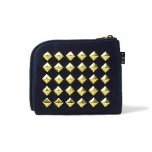 THE COLOR NYLON STUDS HALF WALLET -navy-