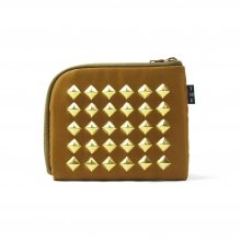 THE COLOR NYLON STUDS HALF WALLET -beige-