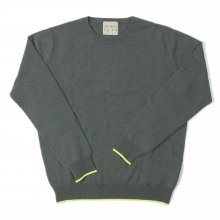 JUMPER1234 tipped CREW -moss / neon yellow-