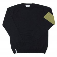 "AKA SIX simon barker ""MELINO WOOL JUMPER"" -black/green-"