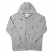 WHIMSY HAND SIGN ZIP-UP HOODIE -heather gray-