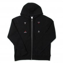 WHIMSY HAND SIGN ZIP-UP HOODIE -black-