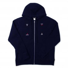 WHIMSY HAND SIGN ZIP-UP HOODIE -navy-