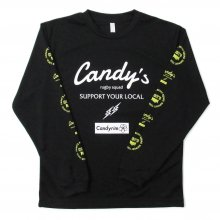 O3 RUGBY GAME wear & goods Candy's S.Y.L. L/S TEE -black/white/neonyellow-