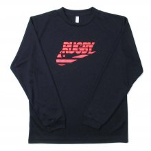 O3 RUGBY GAME wear & goods THE RUGBY BLACKS dry L/S TEE -navy/neonorange-