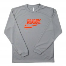 O3 RUGBY GAME wear & goods THE RUGBY BLACKS dry L/S TEE -gray/neonorange-