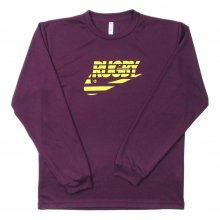 O3 RUGBY GAME wear & goods THE RUGBY BLACKS dry L/S TEE -purple/neonyellow-