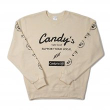 O3 RUGBY GAME wear & goods Candy's S.Y.L. CREW SWEAT -cream-