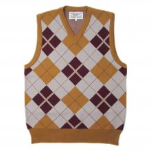 PEEL&LIFT ARGYLE VEST -yellow ocher-