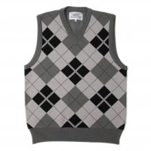 PEEL&LIFT ARGYLE VEST -gray-