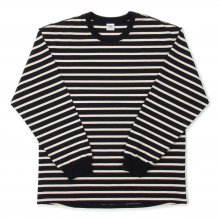 THE FABRIC BORDER L/S TEE -navy/kinari-
