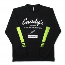 <img class='new_mark_img1' src='https://img.shop-pro.jp/img/new/icons14.gif' style='border:none;display:inline;margin:0px;padding:0px;width:auto;' />O3 RUGBY GAME wear & goods Candy's PUNCH ARMS dry L/S TEE -black/white/neonyellow-