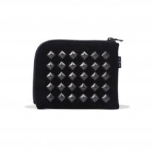 THE COLOR STUDS HALF WALLET suede -black-