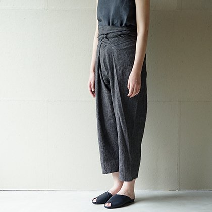 cotton linen easy wrap pants
