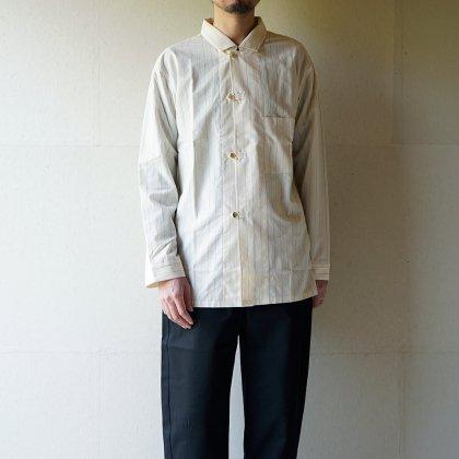 オーガニックコットン ポプリン ストライプ パジャマシャツ