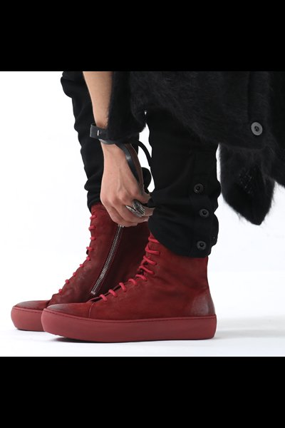 LACE-UP LEATHER SNEAKERS TLC1685_OILED RED