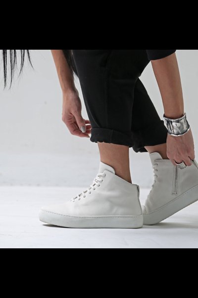 LACE-UP LEATHER SNEAKERS TLC1860_WHITE