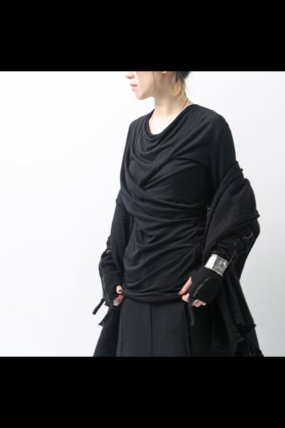 DRAPE LONG TOP 117FK07_BLACK