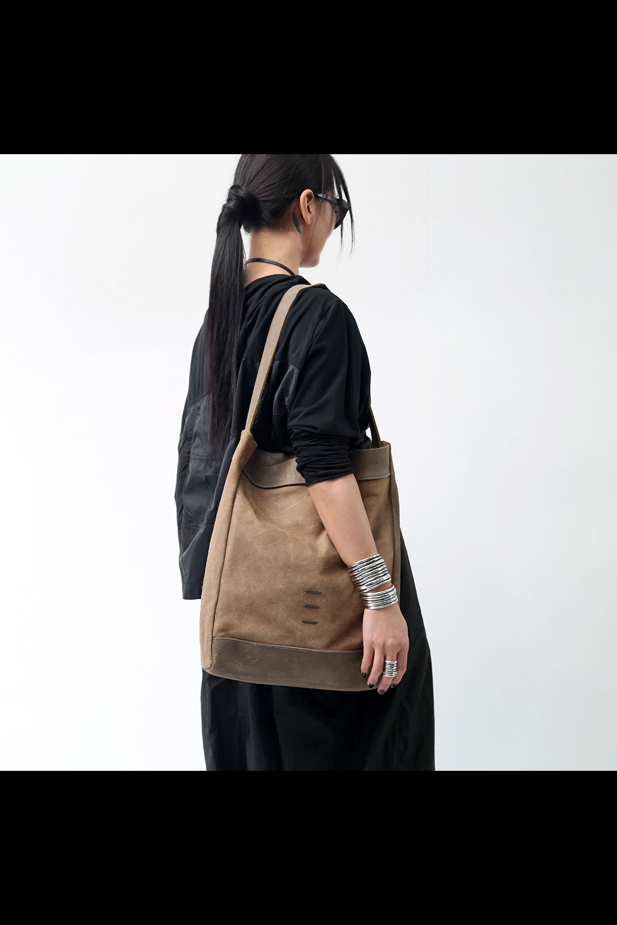 LAMB LEATHER SHOULDER DBJ008_GRAYBEIGE