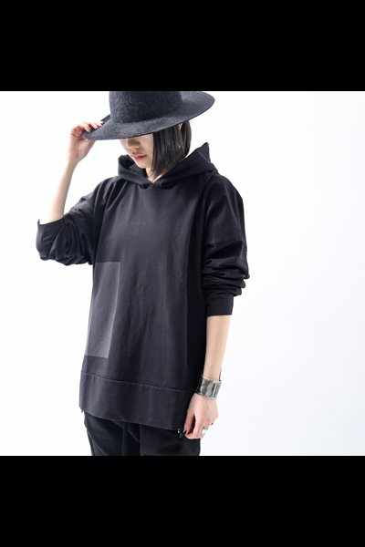HOODED PULLOVER TOP MS43_BLACK