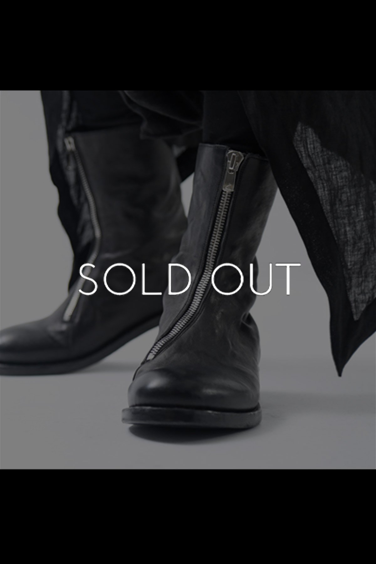 FRONT ZIP LEATHER BOOTS TLC2154_BLACK