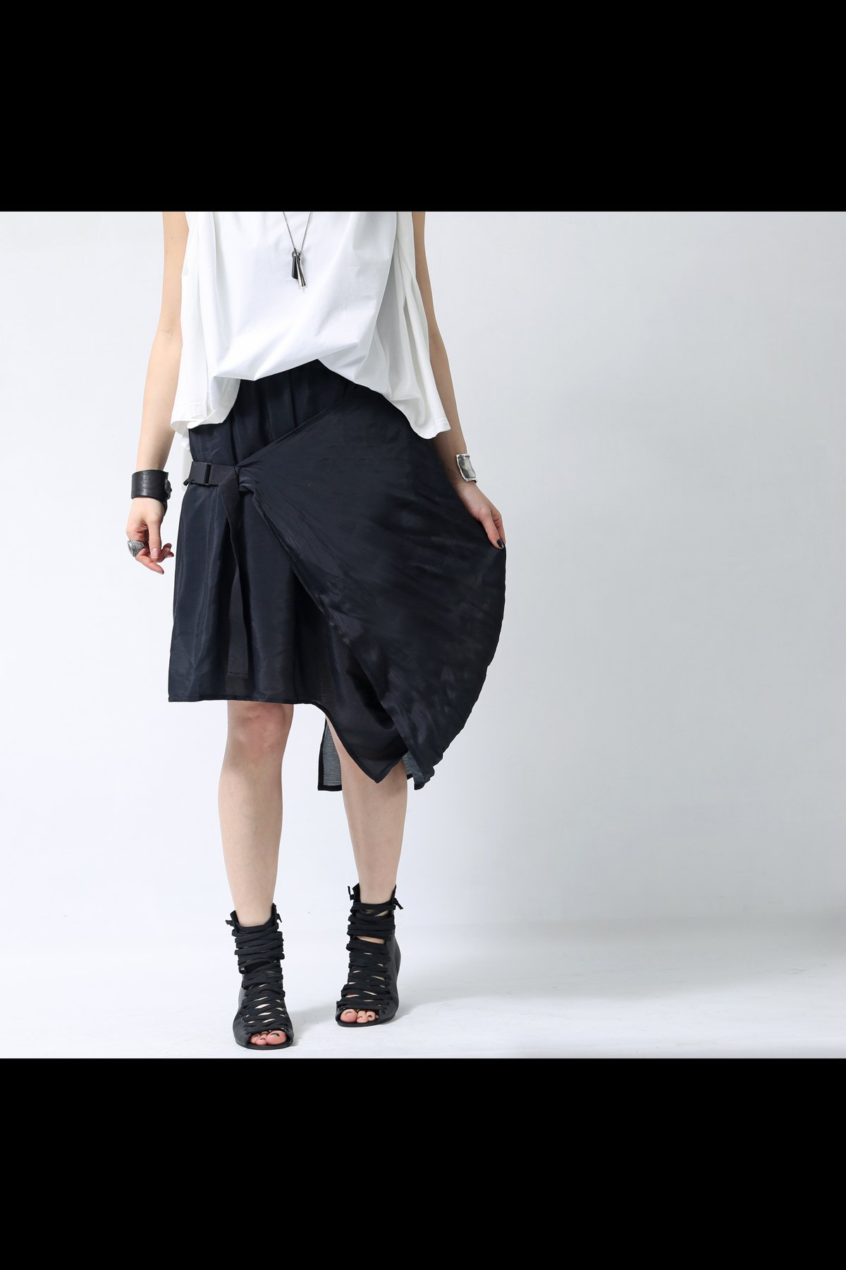2WAY ASYMMETRY BELT SKIRT VS-02_BLACK